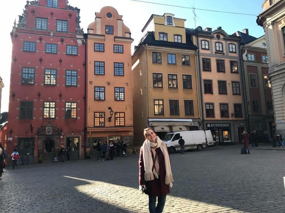 Girl on streets of Stockholm, Sweden